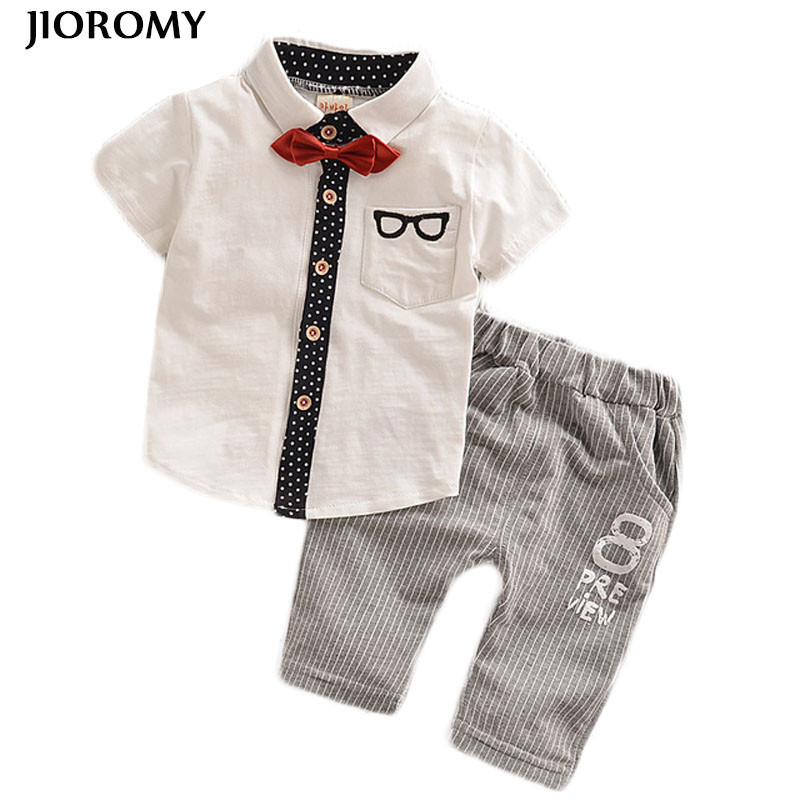 JIOROMY Toddler Children Clothes Summer Baby Boys Clothing Sets Gentleman Clothes Suits Kids Sweatshirt Child Formal Shirt+short