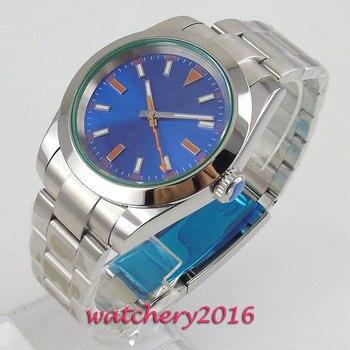 39mm Bliger stérile cadran bleu saphir verre Top marque cadeaux mouvement automatique montre pour hommes
