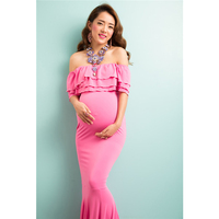 Pregnant woman photography props Maternity Gown Boat Neck Maternity Photo Shooting Dress Mama Gown Pink Pregnant Clothes JML 6