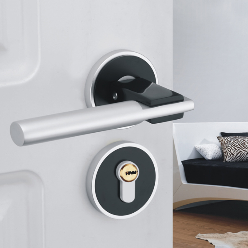 Space Aluminum Door Handle with Lock Cylinder Front Back Lever Latch Polished Home Security + Keys Simple Interior AccessoriesSpace Aluminum Door Handle with Lock Cylinder Front Back Lever Latch Polished Home Security + Keys Simple Interior Accessories