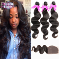 8A unprocessed virgin brazilian hair with closure 4PC lace closure with human hair bundles braziLlian body wave with closure