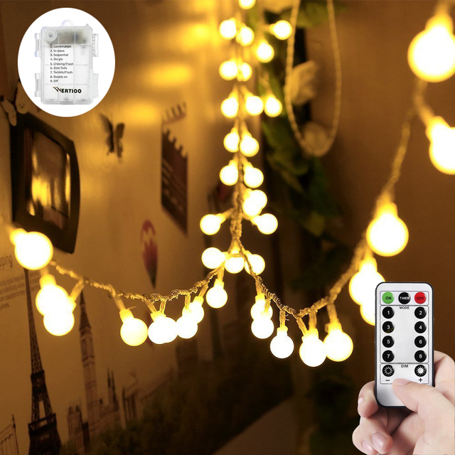 WERTIOO 33ft 100 Leds Globe String Lights Battery Operated Fairy Lights  With Remote Control Indoor/