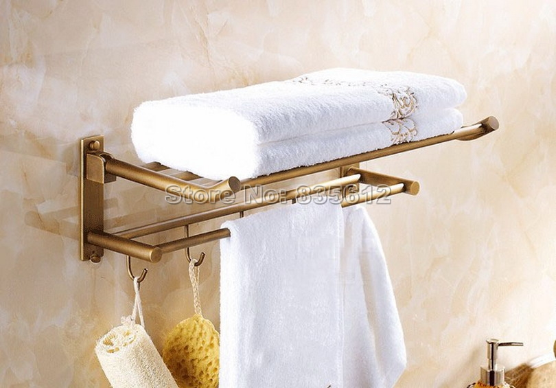 Antique Brass Wall Mounted Bathroom Shelf With Hooks Towel Rack Holder With Towel Bar Wba320 купить