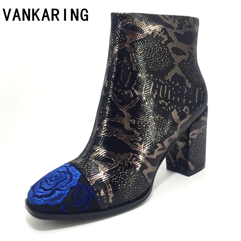 autumn winter shoes women embroidery snake skin pattern high heels ankle boots woman ladies party wedding snow platform boots