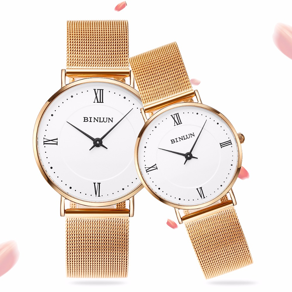 Binlun Ultra Thin Rose gold Quartz Watches Waterproof Scratch Resistant Stainless Steel Strap watch for Couples Men and Women woonun luxury brand ultra thin watches for men women stainless steel water resistant quartz watches for lover classic roma watch