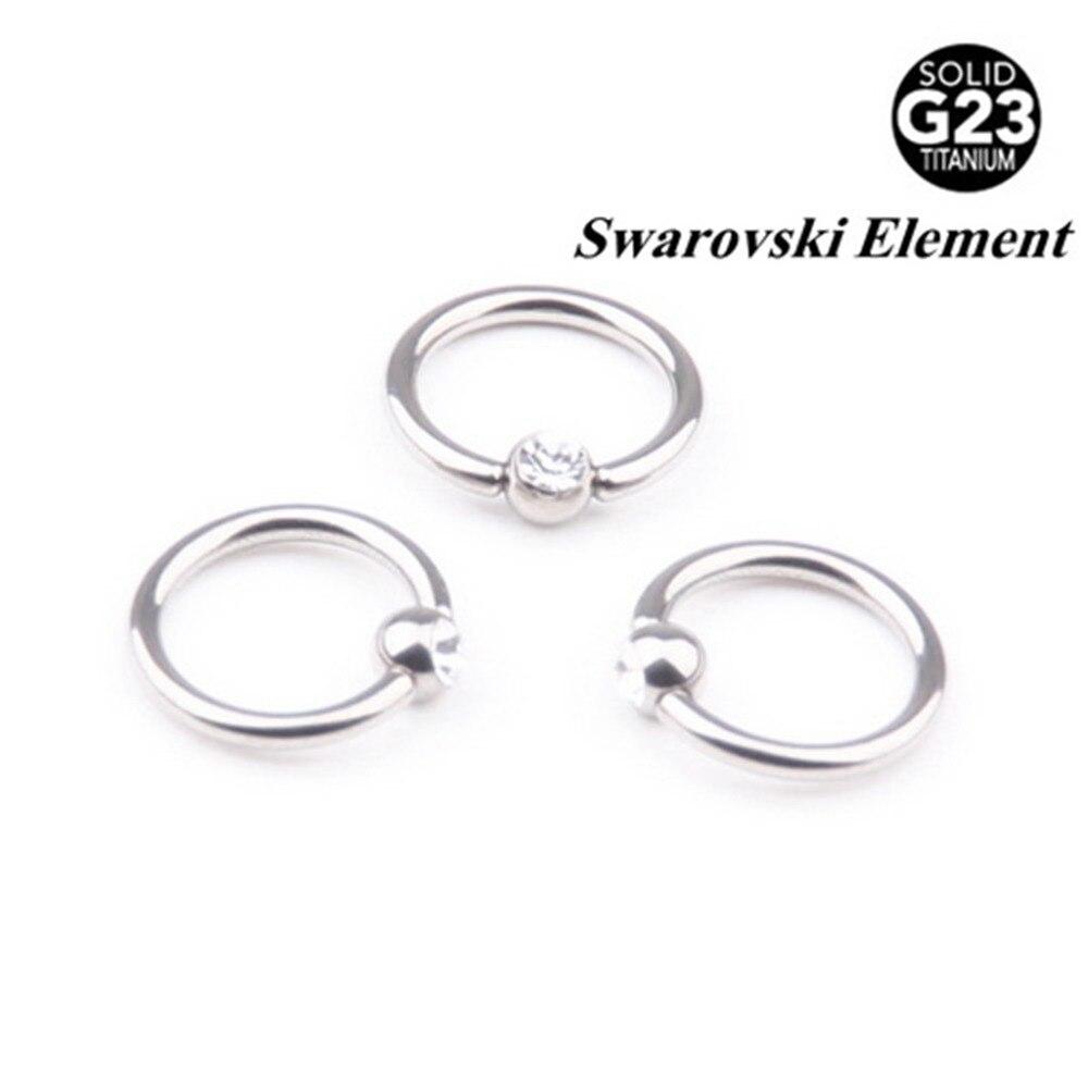 Lot G23 Titanium Captive Bead Rings Cbr With Clip Gem Ball Fake  Piercings Nose
