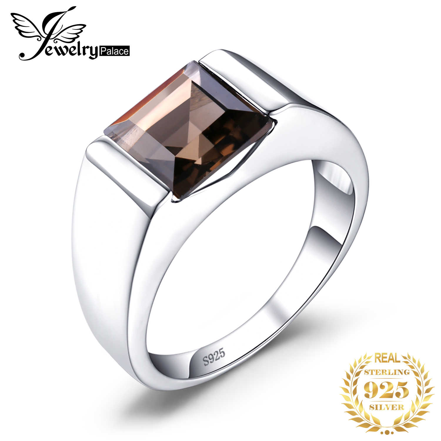 JewelryPalace Men Rings Square Luxry 2.2ct Genuine Smoky Quartz 925 Sterling Silver Wedding Rings Gemstone Fine Jewelry