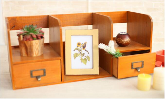 1PC Zakka Grocery Wooden Drawer Cabinet Desktop Book Organzier Home Decoration Wood Storage Box NM 009