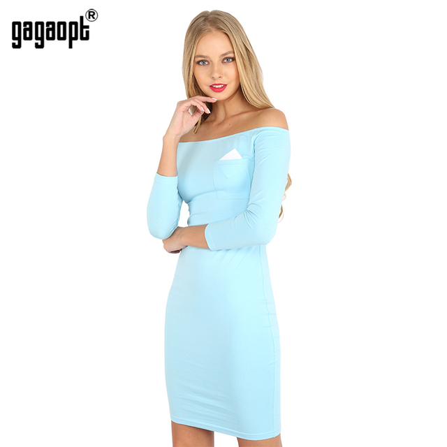 Gagaopt 2017 Summer Dress Women 95% Cotton 3 Color Slash Neck Longsleeve Knee-Length Women Party Bandage Dresses Robes Vestidos