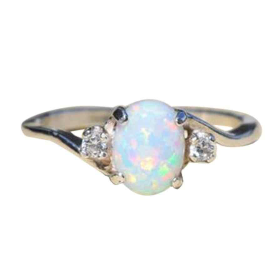 מעודן נשים של טבעות כסף טבעת סגלגל לחתוך אש אופל תכשיטי Aneis יום הולדת מתנת הצעה כלה אירוסין טבעת אנל תכשיט