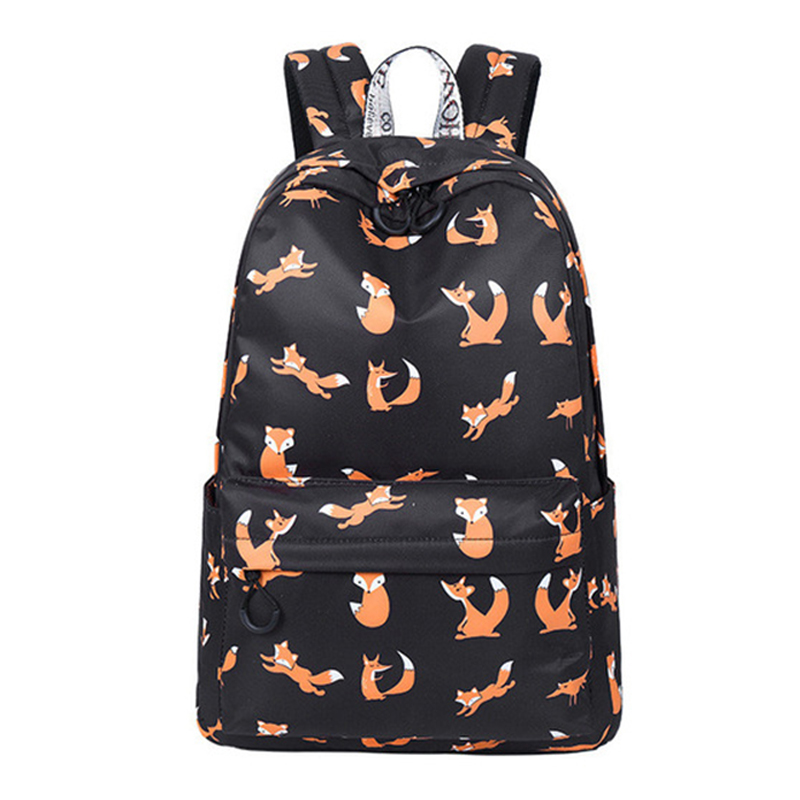 High Quality Waterproof Women School Backpack Cute Fox Pattern Printing Female Travel Daily Laptop Bagpack Kawai Knapsack