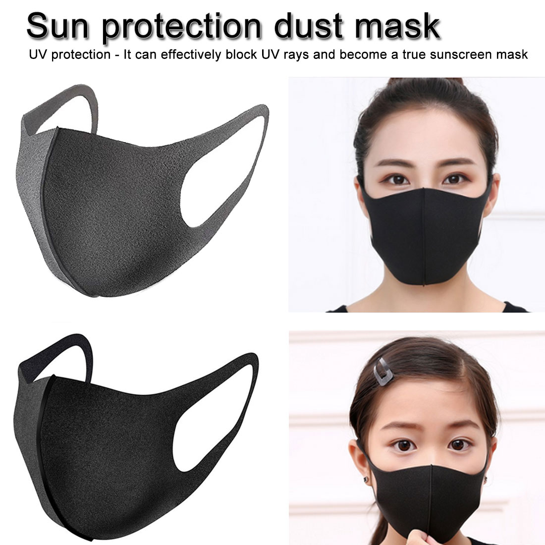 Hot Popular 1pc Summer Sunscreen Ice Silk Respirator Unisex Breathable Anti-dust Anti-smog Mask 3D Solid Washable Mouth-muffle
