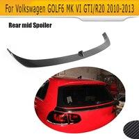 Fibra de carbono do carro traseiro meio spoiler para volkswagen vw golf6 mk6 gti r20 2010 2011 2012 2013