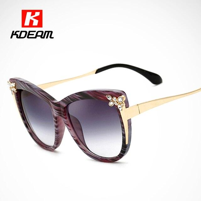 62699b56e7b68d Embelli Cat Eye lunettes de Soleil Femmes Bande Acétate Cadre avec  Métallique et Cristal Détail Soleil