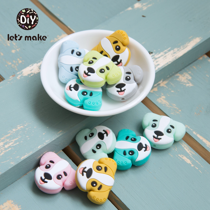 Silicone Beads Of Dog 10pcs Cartoon Animals Baby Teethers Bead For Teeth Necklace Making Food Grade Silicone Teethers Let's Make