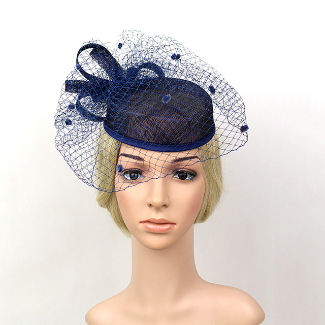 486d8826e7 Fascinator Bowler Hat Women Bridal Headwear Vintage Party Hats Net Yarn  Feather Headdress 2210
