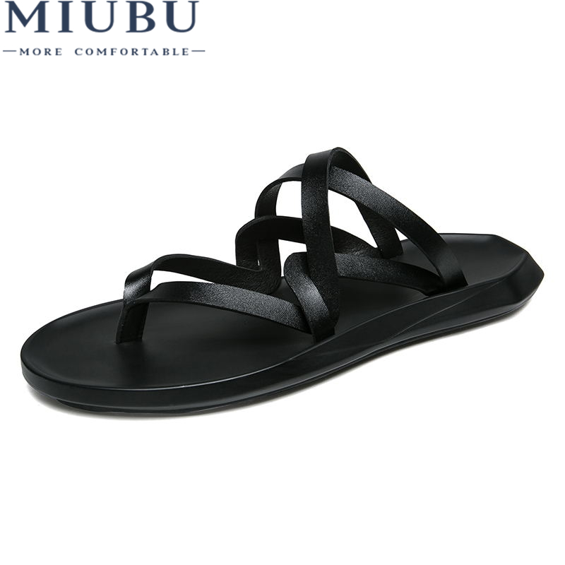 MIUBU Men Sandals Summer Leather High Quality Fashion Casual Comfortable Leather Sandals Men