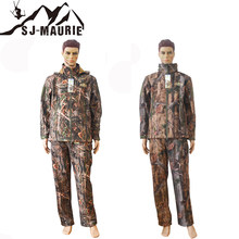 SJ-MAURIE Winter Waterproof Outdoor Bionic Camouflage Hunting Suits Trekking Tactical Camouflage Clothes Hoody Coat and Pants(China)