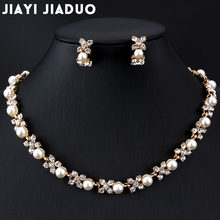 jiayijiaduo Imitation pearl jewelry set for wedding For women dress accessories Necklace earrings set Gold color Flower gift(China)