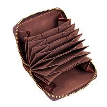 Cartera de cuero genuino para hombres Vintage acordeón cremallera diseño corto tarjeta de crédito monedero hombre cuero embrague dinero bolsos