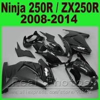 Bằng phẳng màu đen Fairing kit Kawasaki 250R EX250 2008 2009 2010 2011 2013 2014 Ninja ZX 250 08 09 10 11 12 13 14 fairing bộ dụng cụ 3P2