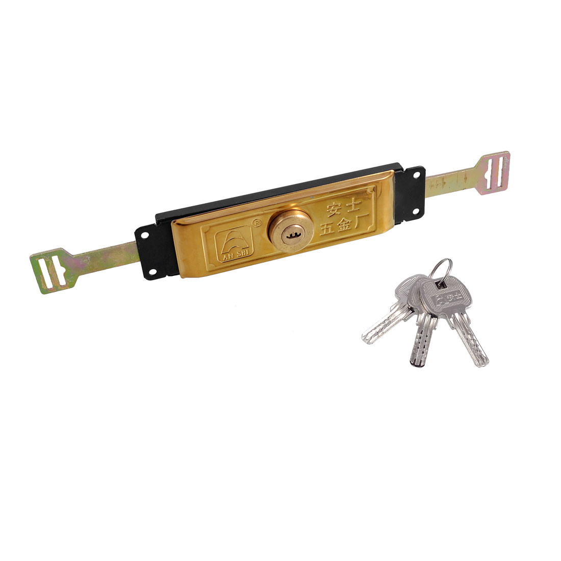 UXCELL Gold Tone Black Brass Metal Garage Pulling Roller Door Lock W <font><b>3</b></font> Keys