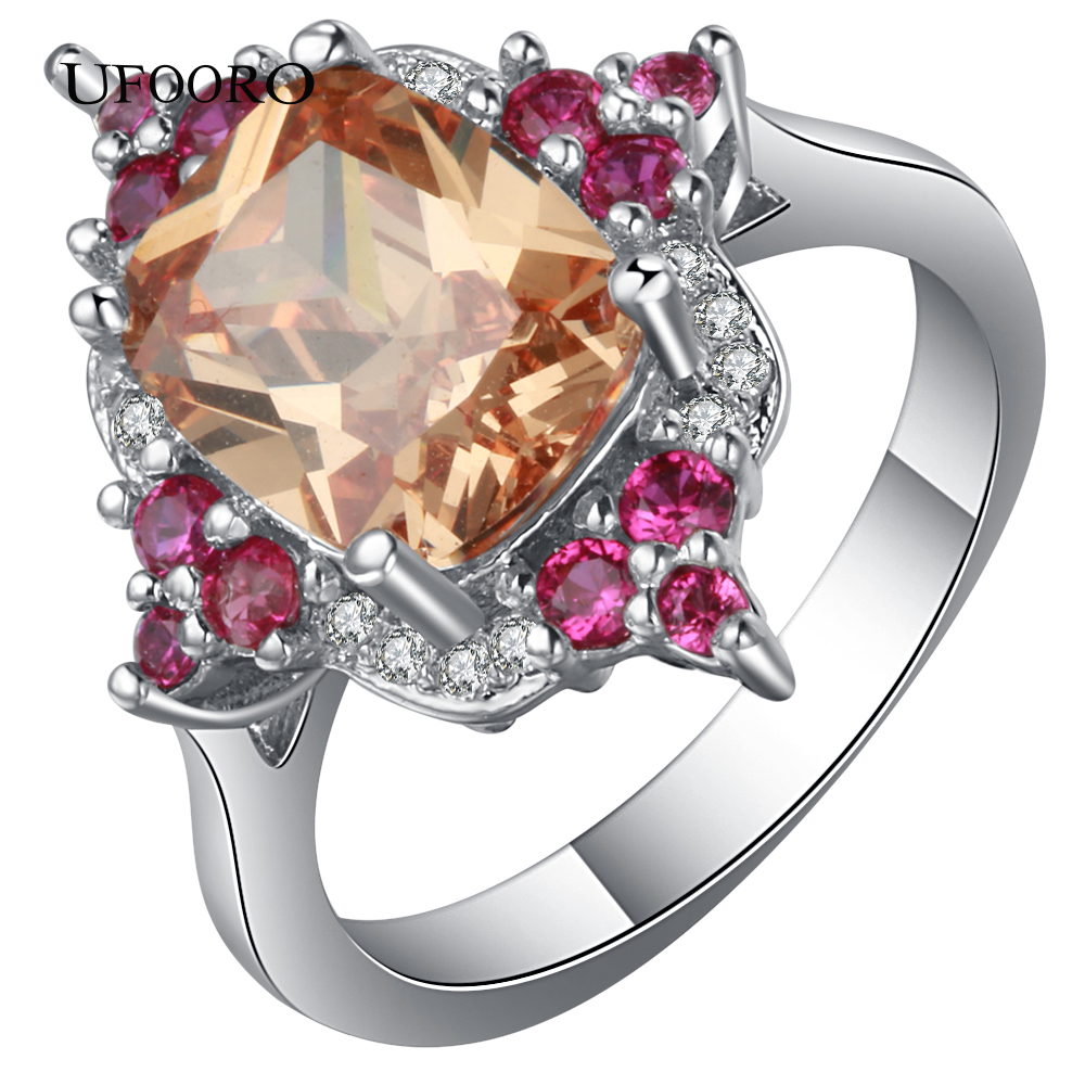 UFOORO Shinng CZ Silver Color Weeding rings Romantic Fashion accessories Party Bohemia Naturl Crystal for Valentines Day ...