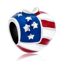 1PC European Stylle American Flag Heart Love Bead Charms Fits Pandora Charm Bracelets & Necklace