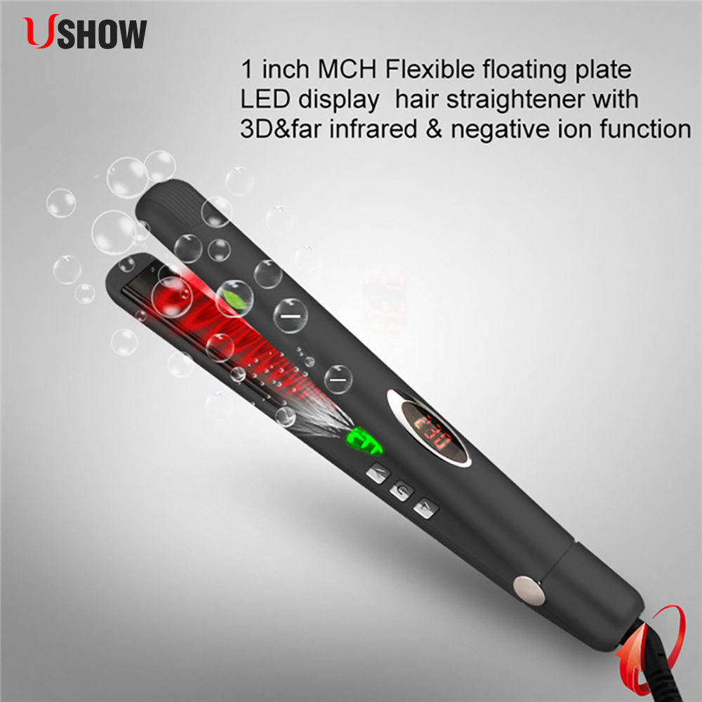 LED Display Hair Flat Iron Digital Straightening Irons Ceramic Temperature Control Infrared Hair Straightener Flat Iron hair straightener led display wet