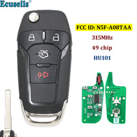 3+1/4 Buttons Flip Remote Key Keyless Entry Fob 315MHz with 49 chip Hitag Pro for Ford Fusion 2013 2015 FCC ID: N5F A08TAA HU101