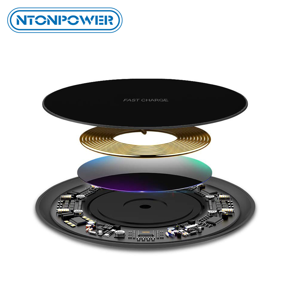 NTONPOWER 10W Fast Wireless Charger For iPhone X 8 XS Max XR Qi Wireless Charger for Samsung S8 S9 Plus USB Phone Charger Pad-in Mobile Phone Chargers from Cellphones & Telecommunications