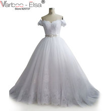 VARBOO_ELSA2018 Latest Elegant Wedding Dress Off Shoulder Crystal White Wedding Dress Plus Size Beautiful ballgown bridal dress