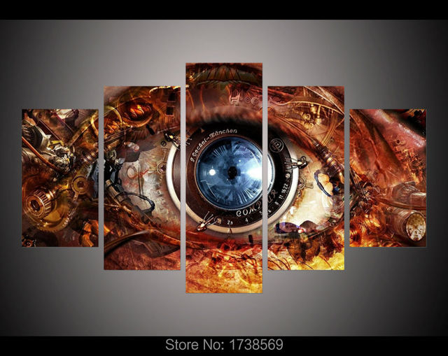 5 Panel Modern Home Decor Wall Art Picture For Living Room Steampunk  Abstract Eyes Poster Canvas