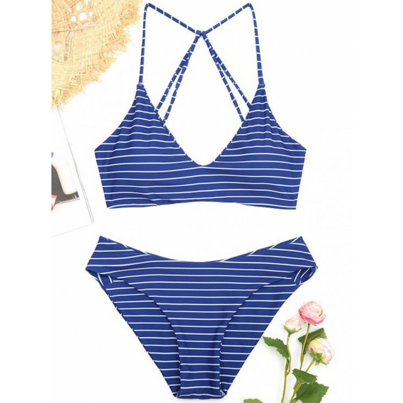 Blue Stripe Thong Bikini Sets 2018 Two-Piece Suits Brazilian Bandeau Sexy Bikini For Female Swiming Suit Women Swimsuit Push Up