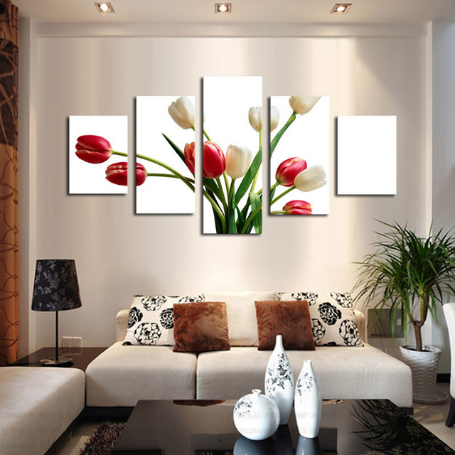 5 Piece Red White Flowers Painting Modern Home Living Room Wall ...