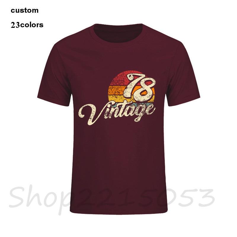 Men T Shirts Vintage 1978 Fashion 40th Birthday Gift 80s Custom Print Cotton Shirt Male Plus Size Camisetas Tshirt Clothing