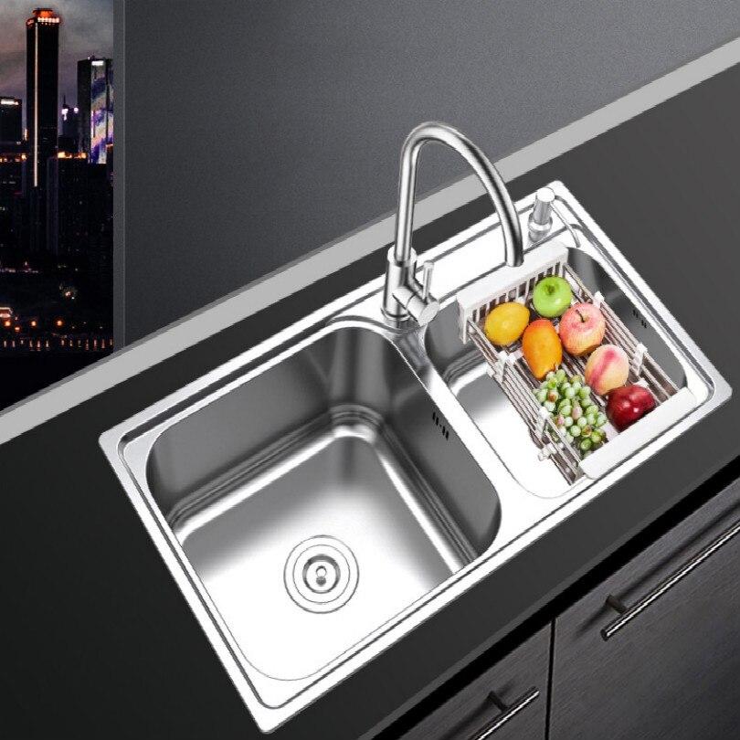 Chaud + cool 304 évier en acier inoxydable évier de cuisine double barre d'évier d'eau avec robinets tuyau valve tuyau support de dispositif de savon liquide