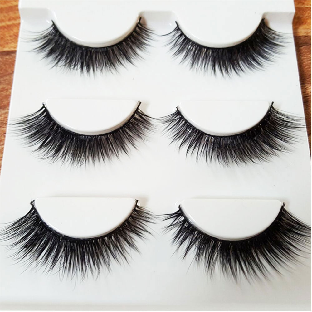 3D Mink Eyelashes Strips Thick Cross 3 Pairs of Natural False Eyelash 3D Eyelash Extensions Eyelash Perm Kit Wimper Extensions