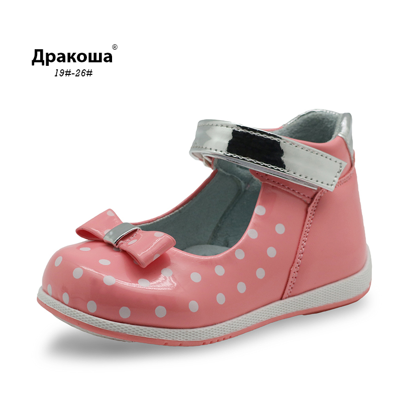 Apakowa Spring Autumn Bowtie Girls Sandals with Arch Support Pu Leather Princess Female Kids Children Orthopedic