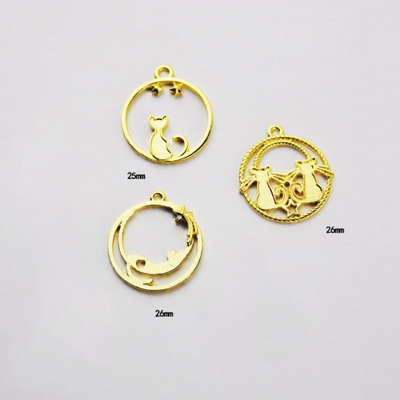 7 Pcs/Set UV Epoxy Resin Openwork Metal Border Star Tail Kiss Cat Modeling DIY Pendant Key Chain Jewelry Frame Mold