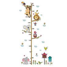 Детская одежда с мультяшными животными, высота измерения наклейка съемный наклейки на стену DIY обои для детского сада домашний декор для детей