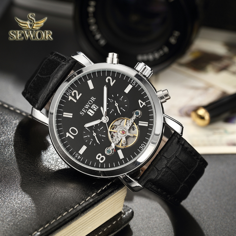 SEWOR Luxury Brand 2018 New Fashion Tourbillon Automatic Mechanical Men Sport Wrist Watch BLACK C394 sewor c1257