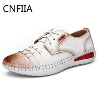 CNFIIA Shoes Woman Oxford Genuine Leather Ladies Walking Sneakers 2018 Summer New Luxury Brand White Brown Female Casual Shoes