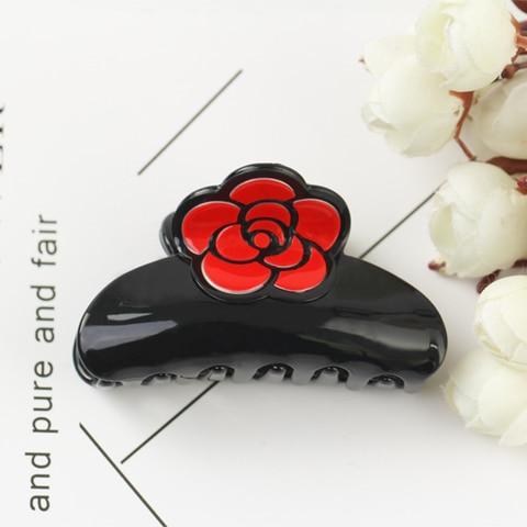 Женский акриловый зажим для волос заколка краб с розами украшение