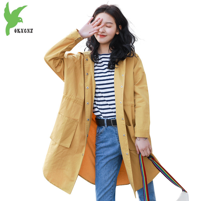 New cotton   trench   coat for women 2018 spring fashion hooded windbreaker Plus size   trench   female Loose Casual top coat OKXGNZ1777