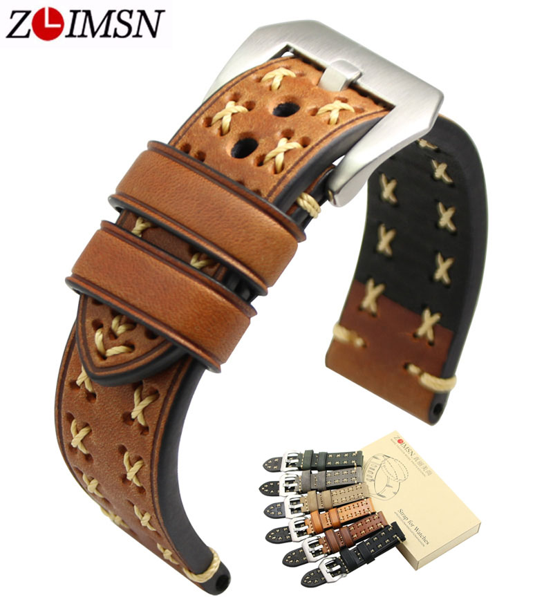ZLIMSN Genuiue Leather Men Watch Band Strap Thick Real Belt 20 22 24 26mm Watchband Brown Grey Stainless Steel Silver Pin Buckle zlimsn men s watch band for panerai 20 22 24 26mm black brown watchband stainless steel buckle wrist belt genuine leather