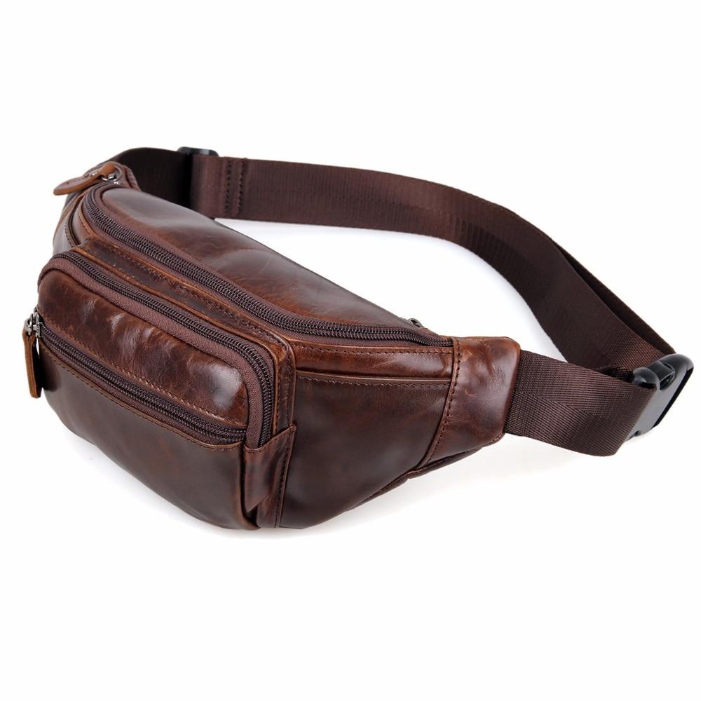 ФОТО 7218C Vintage Style Genuine Leather Man's Waist Bag Fanny Bag For Male Belt Bag