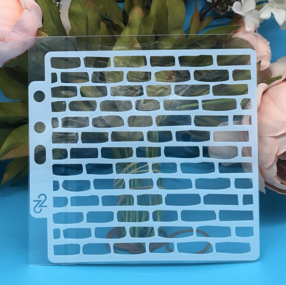New 5.1inch Brick Wall DIY Layering Stencils Wall Painting Scrapbook Coloring Embossing Album Decorative Card Template
