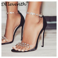 DEleventh Fashion Sexy Transparent Flim Rivets Peeped Toe Stiletto High Heels Shoes Woman Sandals Black White