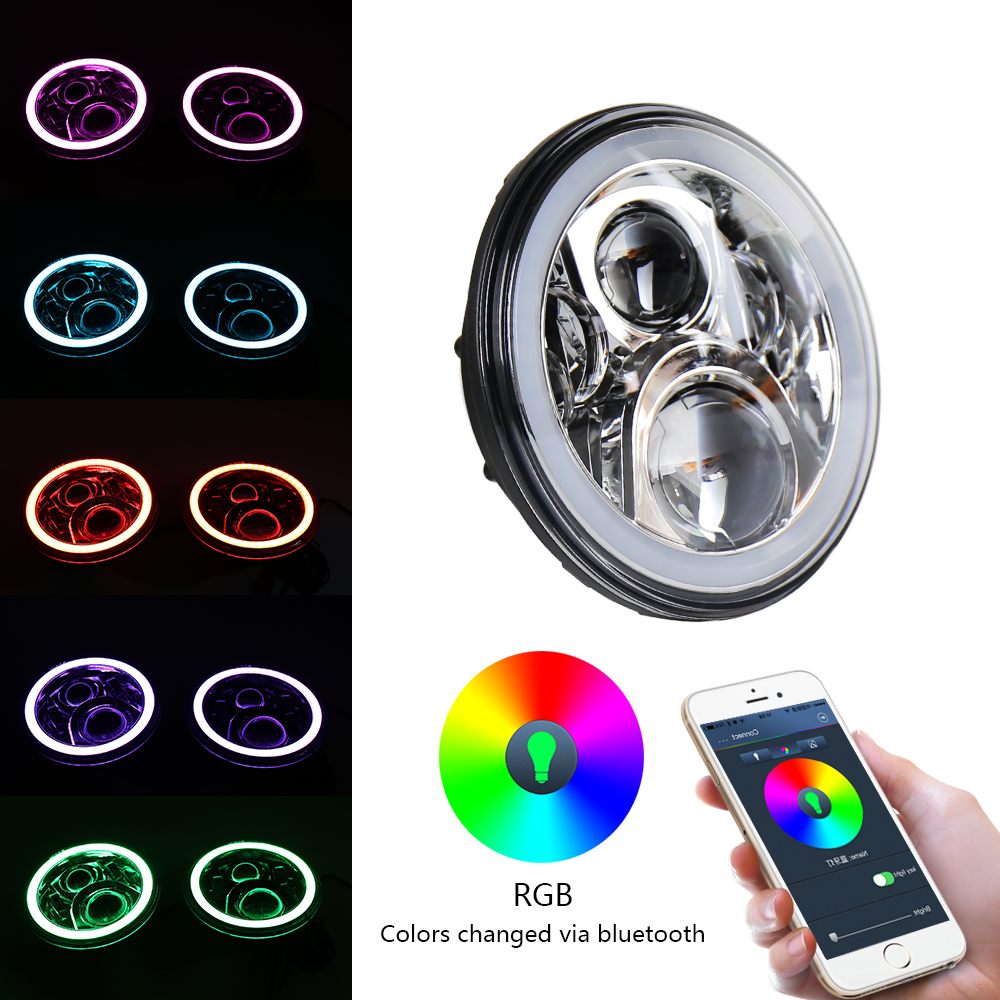 7 Inch LED Headlights Kit for Jeep Wrangler JK TJ CJ Hummer H1 H2 Harley Davidson with Bluetooth Remote Halo Ring RGB ripped hole flowers print casual women jeans pencil pants female denim jeans high waist long skinny jean femme